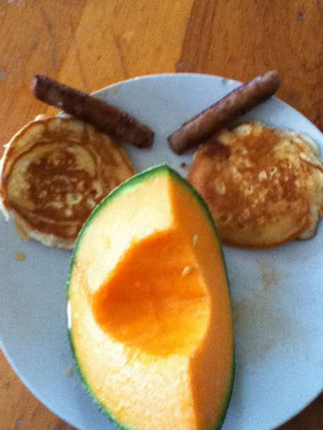 breakfast, face, pancakes, sausage, melon