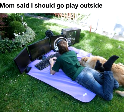 play outside, story, multiple monitors, gaming