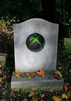 console, microsoft, grave, tombstone, xbox logo