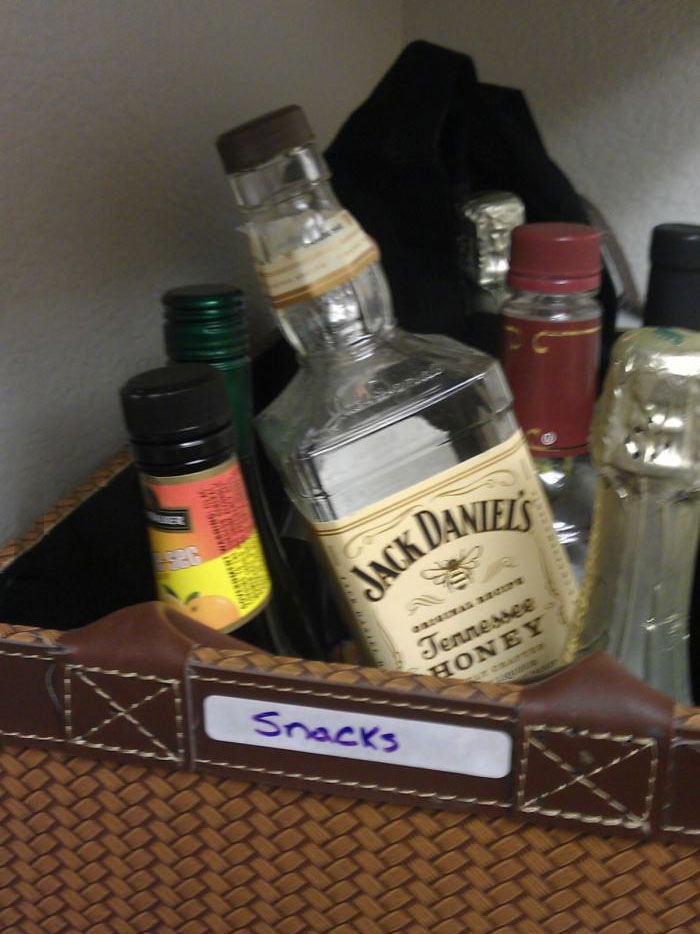 snacks, bottles of alcohol