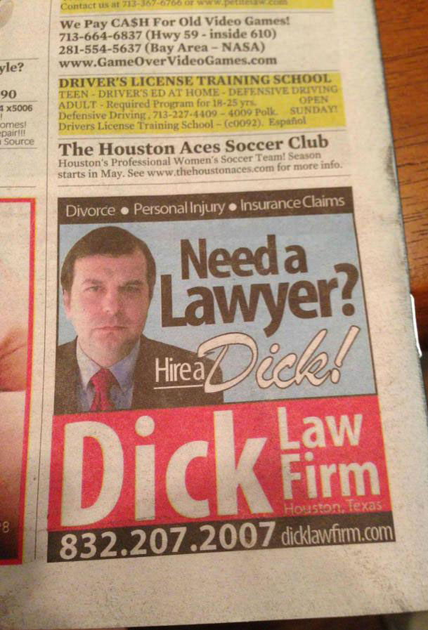 newspaper ad, dick, lawyer, lol