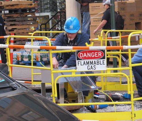 construction worker, fail, danger, sign, flammable gas, cigarette