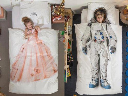 bed, comforter, princess, astronaut, kids