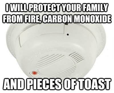 scumbag fire alarm, good guy, meme, toast, fire, carbon monoxide