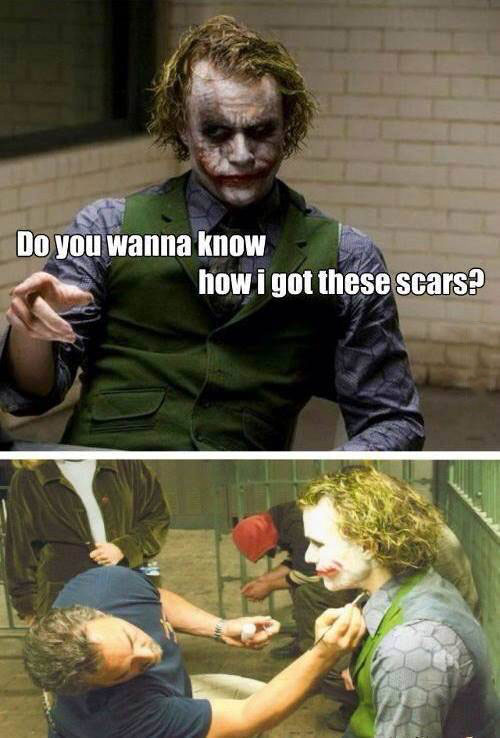 the joker, heath ledger, dark knight, make up, scars