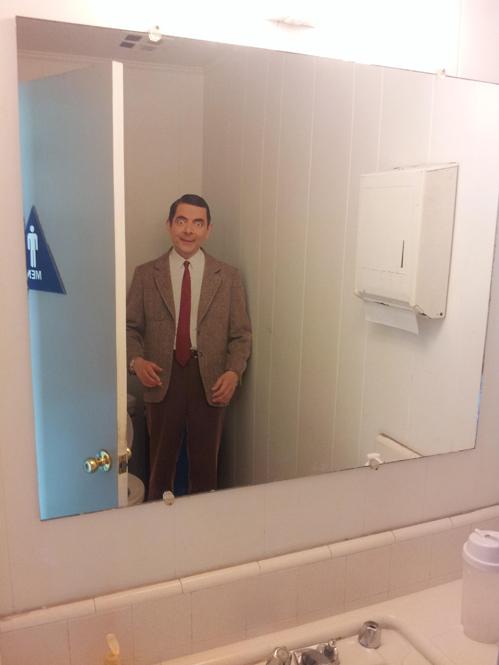 mr bean, cardboard cut out, bathroom, scared, story, troll