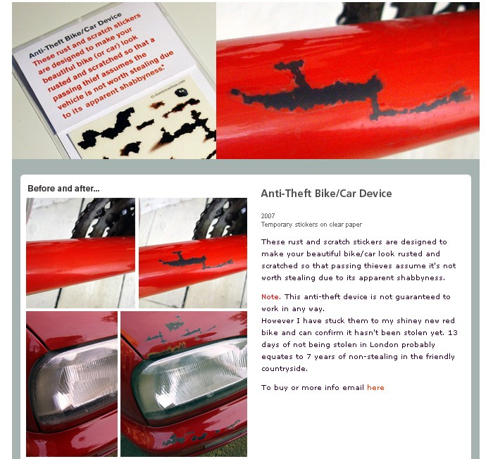 anti theft, rust stickers, clever, idea, story