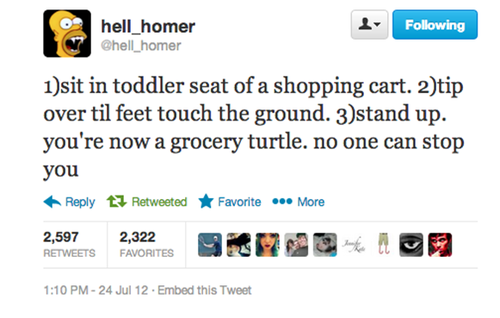 sit in toddler seat of a shopping cart, top over tis feet touch the ground, stand up, now you're a grocery turtle, no one can stop you