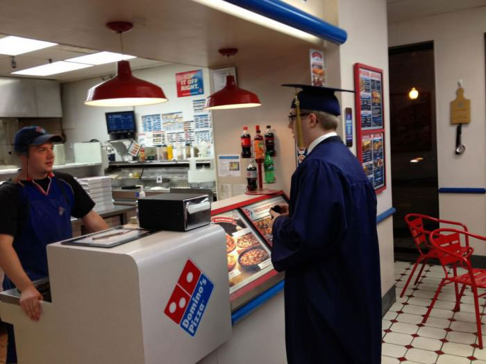 dominos, graduation, gown