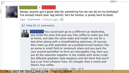 facebook, birthday ideas, comment, car salesmen