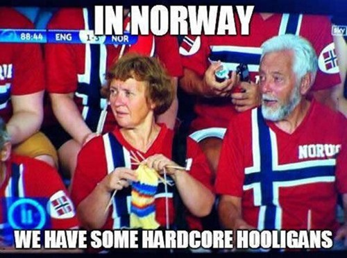 meme, norway, sporting event, fans, knitting
