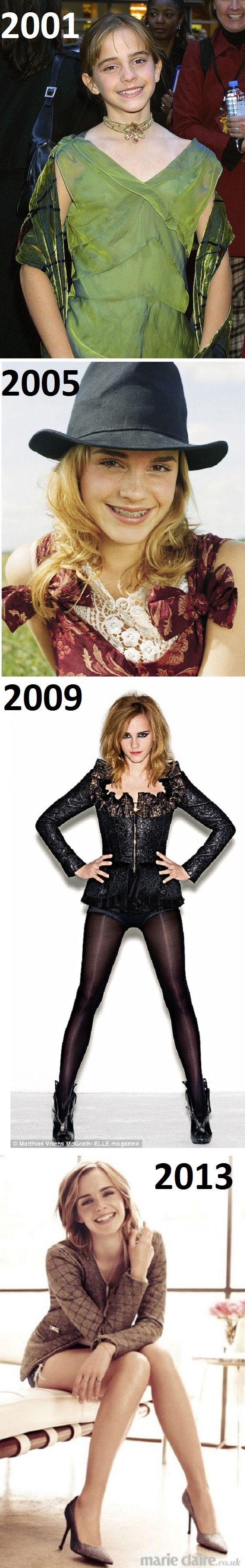 emma watson, evolution, 2001, 2005, 2009, 2013