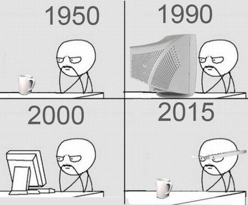 evolution, computer, meme, 1950, 1990, 2000, 2015
