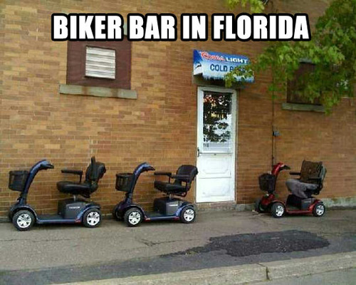 meme, biker bar, florida, powered wheel chair