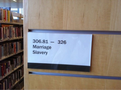 library, marriage, slavery, section