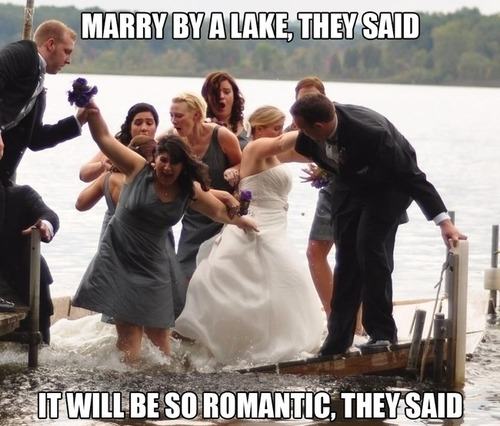 marry by a lake they said, it will be romantic they said, wedding party sinking on lake dock