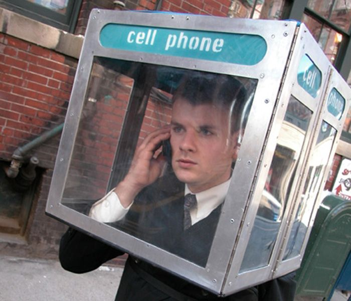 cell phone booth, literal, wtf, costume