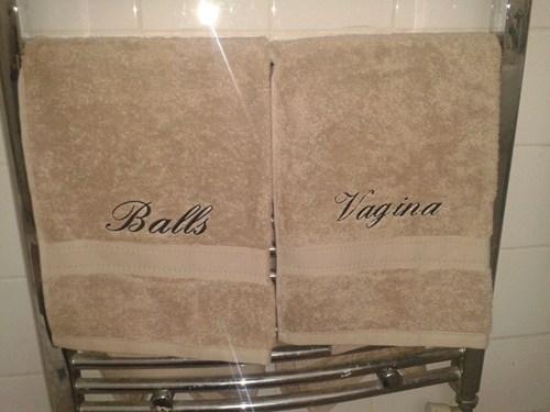 towels, balls, vagina