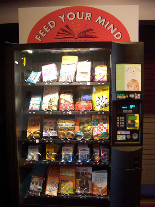 books, vending machine, feed your mind, win