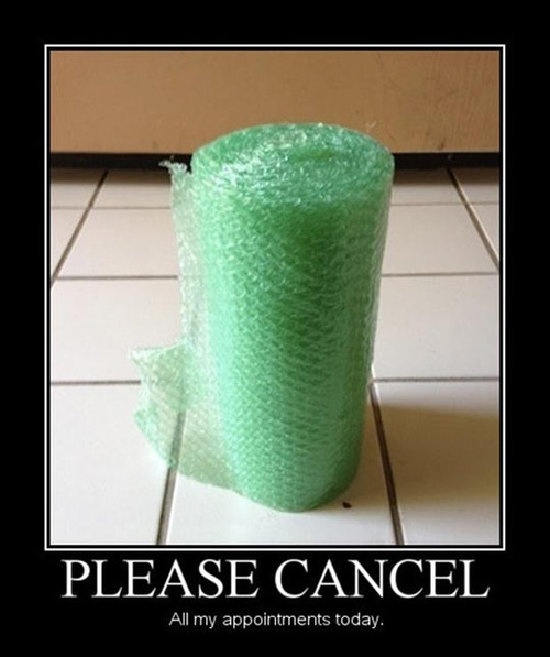 please cancel all my appointments today, motivation, bubble wrap