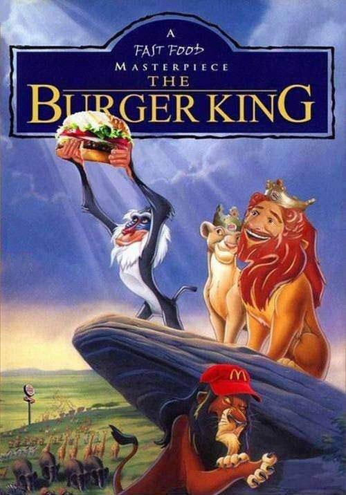 lion king, photoshop, burger king, parody, poster