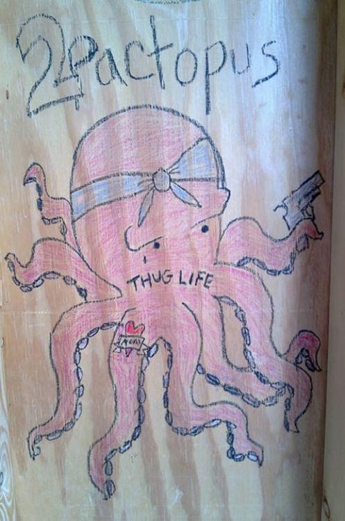 mashup, octopus, tupac, thug life, art