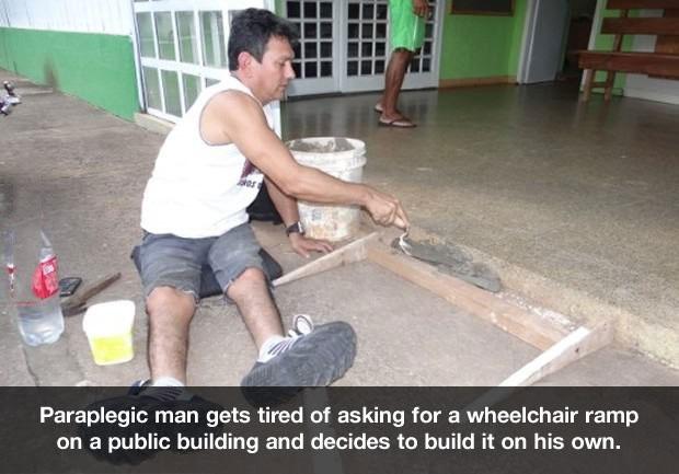 paraplegic, wheelchair ramp, public building
