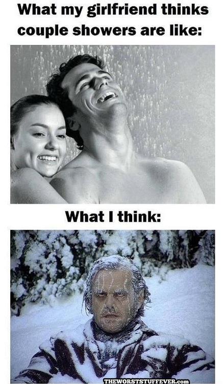 shower, couple, expectation, reality, freezing, the shinning