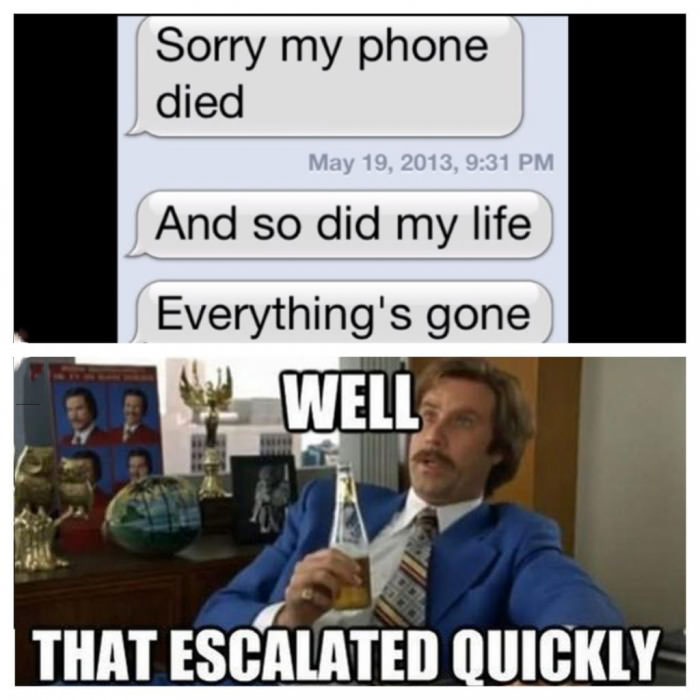 escalated quickly, meme, iphone, life died