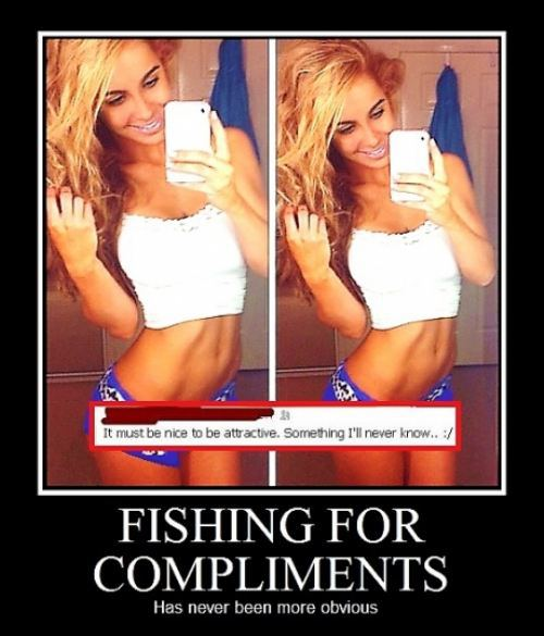 woman, selfie, motivation, fishing for compliments