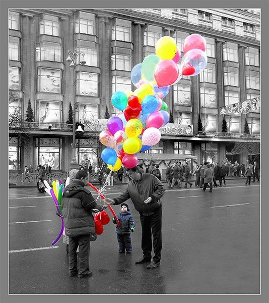 balloons, color, black and white