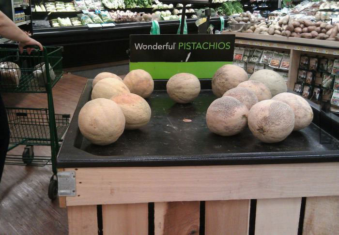 pistachios, melons, label, sign, fail