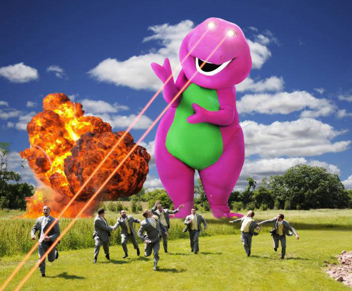 wedding, photoshop, marriage, barney, lasers, explosions