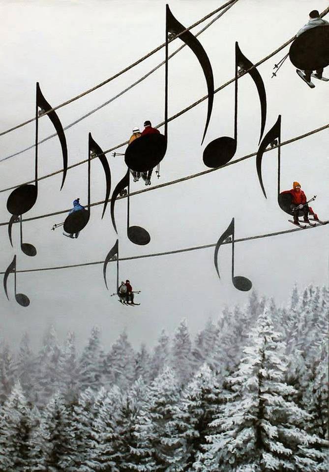 ski lift, music notes, win
