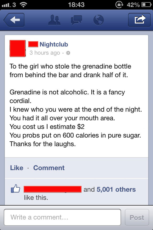 bar, grenadine, non alcoholic, lol, fail, facebook, status