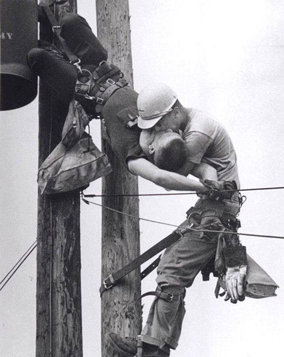 kiss of life, story, black and white, power line workers