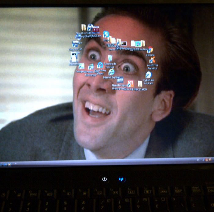 nicolas cage, laptop screen, icons, troll