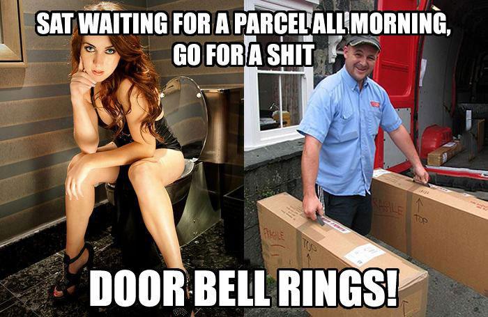 meme, shipment, door bell rings, shit, wait all day