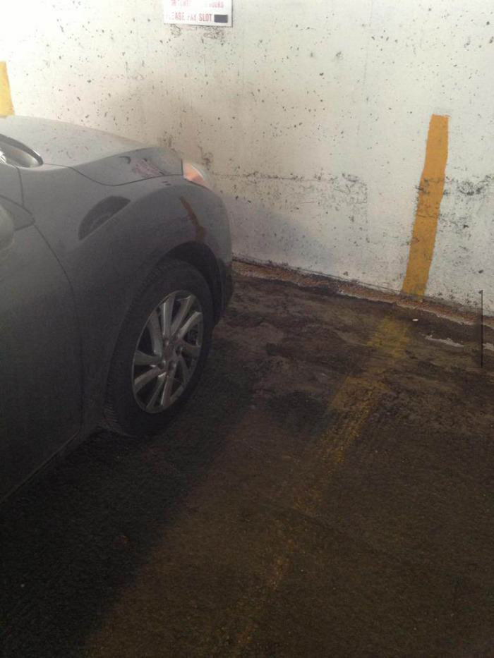 parking garage, lines, good guy painting crew