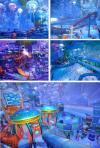 the trippyest indoor water park ever, wave pool, water slide, multicolor