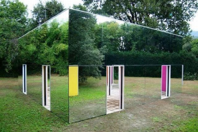 mirror house, cool, camouflage