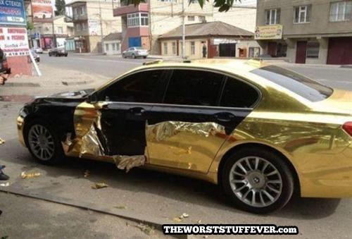 car, gold, paint job, fail, wrapper