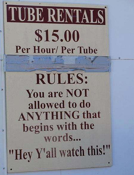 sign, not allowed, tube rentals
