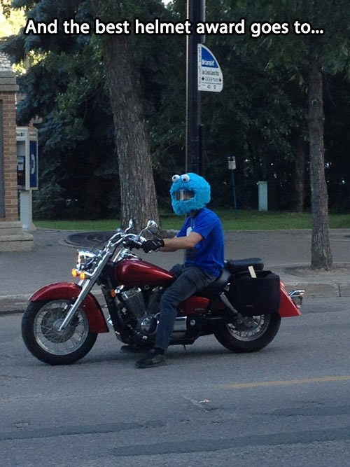 and the best motorcycle helmet award goes to, cookie monster