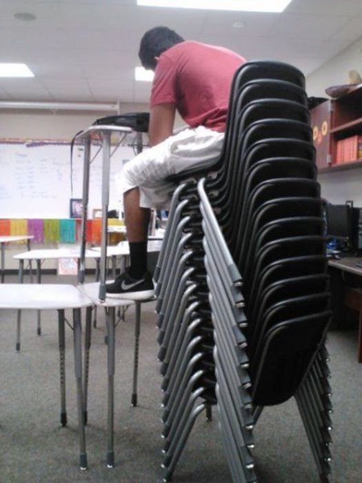 chairs, stack, wtf