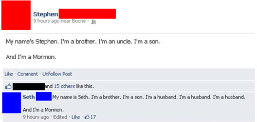 mormon, facebook, uncle, son, husband