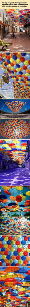 portugal, art, street, umbrellas, canopy