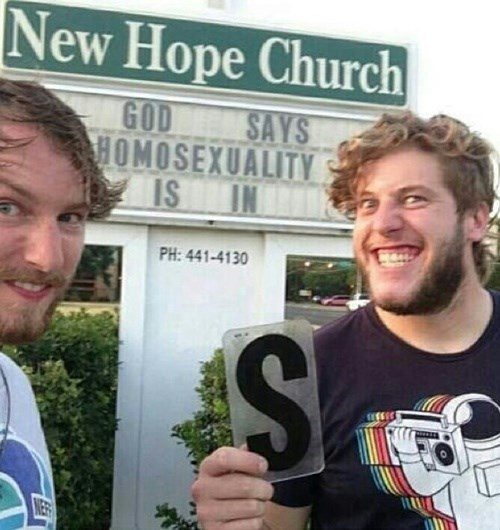 church, sign, god, homosexuality, in, vandalism win