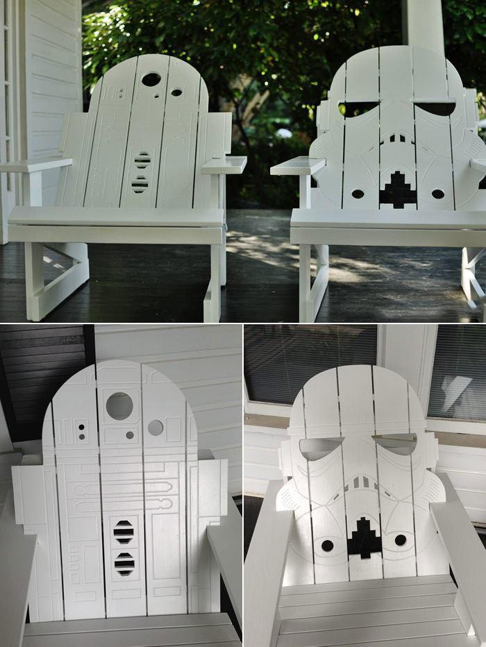 chairs, star wars, r2d2, storm trooper