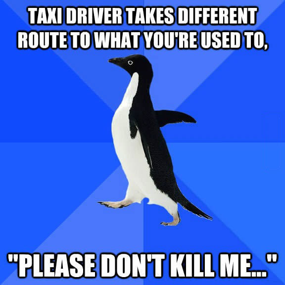 socially awkward penguin, taxi driver, new route, please don't kill me